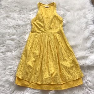 Calvin Klein Yellow Eyelet Lace Dress
